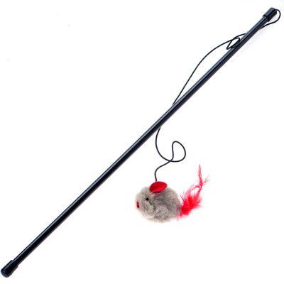 Canne à pêche avec souris qui couine pour chat
