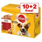 100g Pedigree Dog Food Pouches - 10 + 2 Free!*