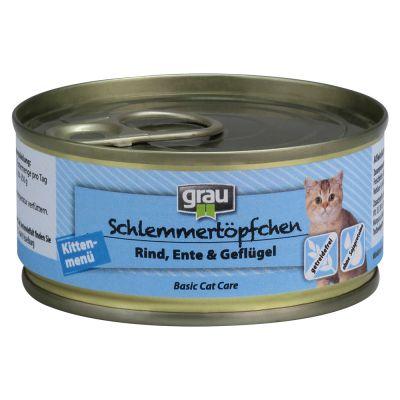 Grau Gatitos sin cereales con vacuno, pato y ave