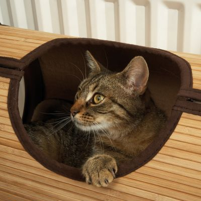 Jolly Moggy Cat Radiator Bed - Brown Bamboo