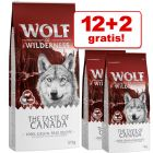 12 + 2 kg gratis! 14 kg Wolf of Wilderness Trockennahrung
