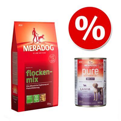 Kombi-Paket: 7,5 kg Meradog Flockenmix + 6 x  400 g Meradog pure meat