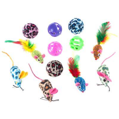 Lot de jouets avec balles et souris pour chat