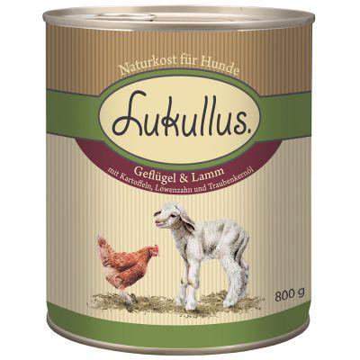 Lukullus Probeerpakket 6 x 400 g/800 g + 12 x 5 cm Kauwbotten Hondenvoer