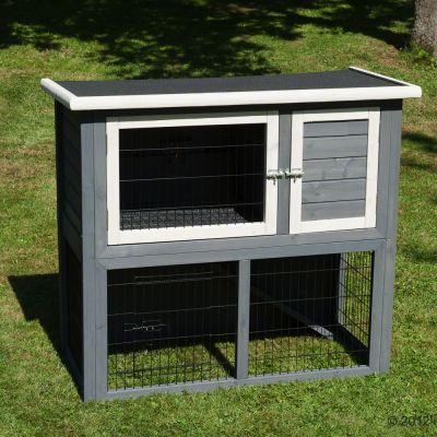 outback kaninchenstall kompakt grey mit freigehege g nstig. Black Bedroom Furniture Sets. Home Design Ideas