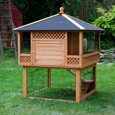 rabbit hutch pagoda with run at zooplus. Black Bedroom Furniture Sets. Home Design Ideas