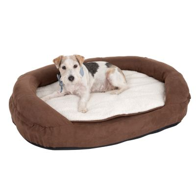 oval memory foam dog bed brown free p p 29. Black Bedroom Furniture Sets. Home Design Ideas