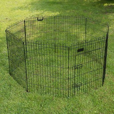 Parque octogonal negro para cachorros y pequeños animales