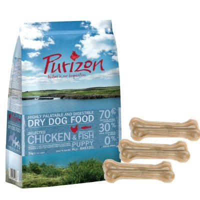 Probierset: Purizon Puppy - getreidefrei & 6 Stück Barkoo Kauknochen