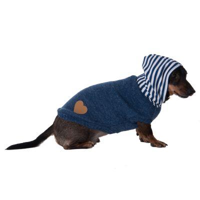 Pull-over à capuche rayée pour chien