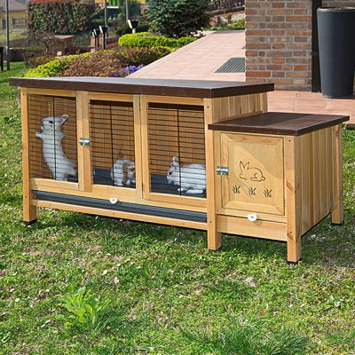 Ranch rabbit hutch xxl great value at zooplus for Cage lapin exterieur