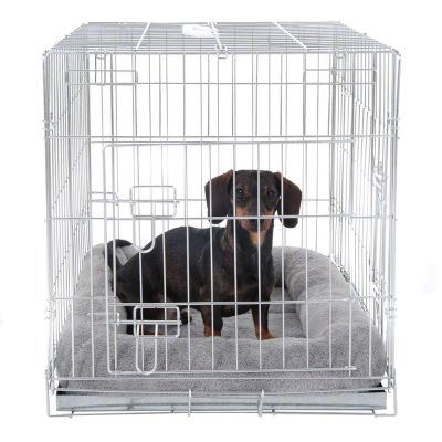 Set Gabbia per cani Double Door e cuscino per trasportini