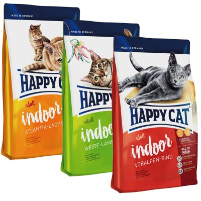 Set prova misto! 3 x 4 kg Happy Cat Indoor Adult
