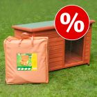 Set: Woody Flat-Roofed Dog Kennel + Insulation