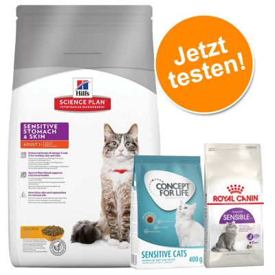 Testpaket: 1,5 kg Hill's Feline Adult Sensitive Stomach + je 400 g Concept for Life und Royal Canin