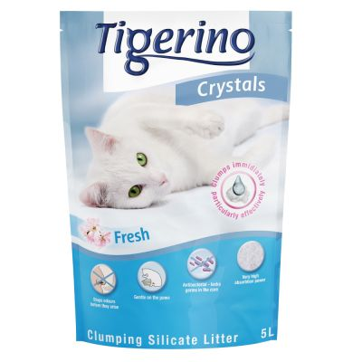 Tigerino Crystals Fresh arena aglomerante con olor a talco