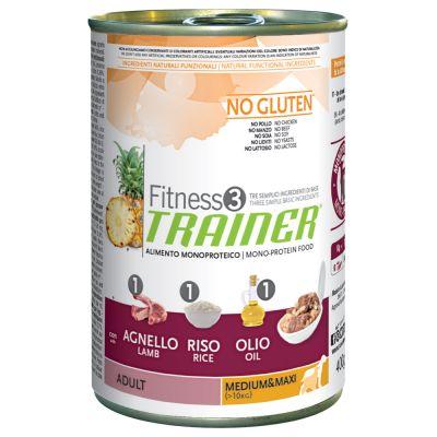 Trainer Fitness 3 Adult Medium/Maxi No Gluten Agnello & Riso