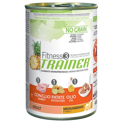 Trainer Fitness 3 Adult Medium/Maxi No Grain Coniglio & Patate