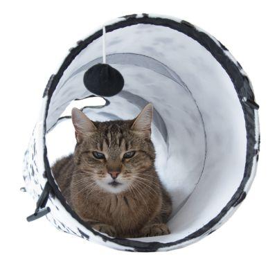 tunnel chat Paws up tunnel pour chat en tissu robuste, produisant des bruits de froissement aux 2 extrémités pliable pour un rangement facile.