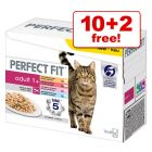 12 x 85g Perfect Fit Adult 1+ Pouches Mixed Pack - 10 + 2 Free!*