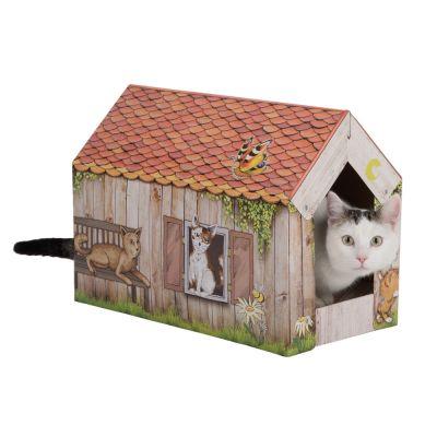 zoolove casita de cartón Home con bloque rascador para gatos